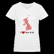 Women's T-Shirts ~ Women's V-Neck T-Shirt ~ I Love The U.K. V-Neck