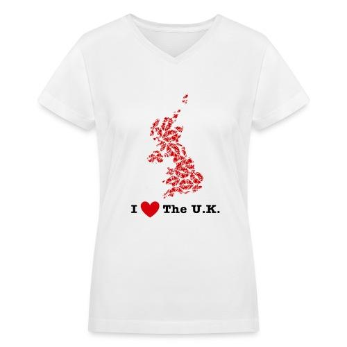 I Love The U.K. V-Neck - Women's V-Neck T-Shirt