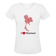T-Shirts ~ Women's V-Neck T-Shirt ~ I Love Thailand V-Neck
