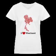 Women's T-Shirts ~ Women's V-Neck T-Shirt ~ I Love Thailand V-Neck
