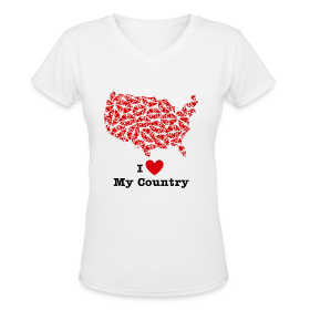 I Love My Country USA V-Neck ~ 617