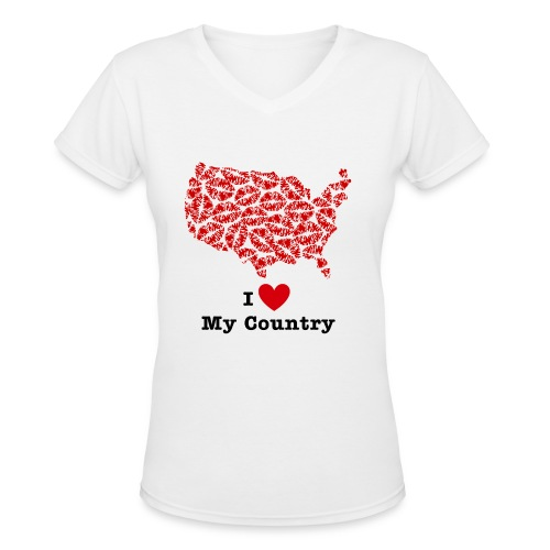 I Love My Country USA V-Neck - Women's V-Neck T-Shirt