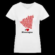 Women's T-Shirts ~ Women's V-Neck T-Shirt ~ I Love Nicaragua V-Neck