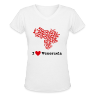 T-Shirts ~ Women's V-Neck T-Shirt ~ I Love Venezuela V-Neck