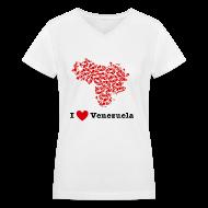 Women's T-Shirts ~ Women's V-Neck T-Shirt ~ I Love Venezuela V-Neck