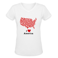 T-Shirts ~ Women's V-Neck T-Shirt ~ I Love America V-Neck