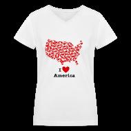 Women's T-Shirts ~ Women's V-Neck T-Shirt ~ I Love America V-Neck
