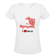 T-Shirts ~ Women's V-Neck T-Shirt ~ I Love Haiti V-Neck