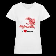 Women's T-Shirts ~ Women's V-Neck T-Shirt ~ I Love Haiti V-Neck