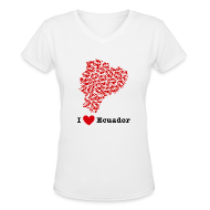 T-Shirts ~ Women's V-Neck T-Shirt ~ I Love Ecuador V-Neck