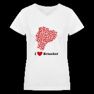 Women's T-Shirts ~ Women's V-Neck T-Shirt ~ I Love Ecuador V-Neck