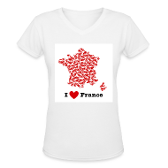 T-Shirts ~ Women's V-Neck T-Shirt ~ I Love France V-Neck