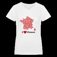 Women's T-Shirts ~ Women's V-Neck T-Shirt ~ I Love France V-Neck