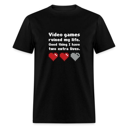 Game Life 1-Logo Black Mens (flock print) - Men's T-Shirt
