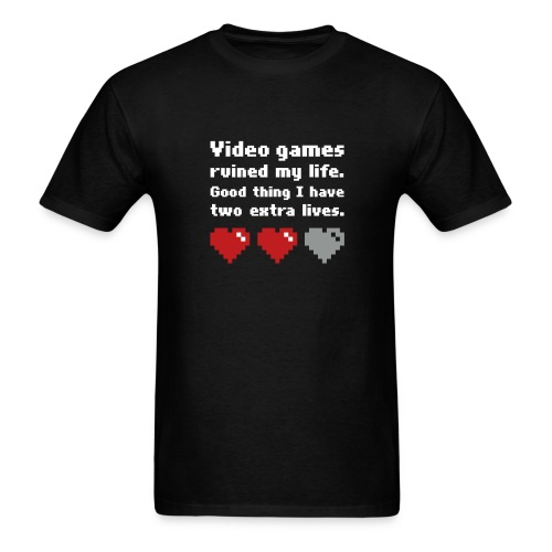 Game Life 1-Logo Black Mens (flock print) - Men's T-Shirt