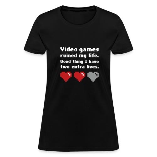 Game Life 1-Logo Black Womens (flock print) - Women's T-Shirt
