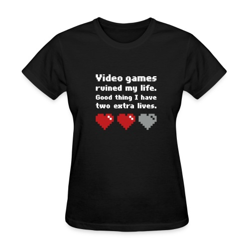 Game Life 1-Logo Black Womens (flock print) - Women's T-Shirt