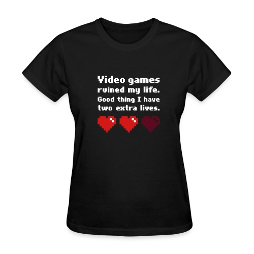 Game Life 1-Logo Black Womens (flex print) - Women's T-Shirt