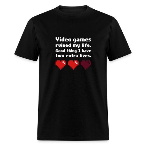 Game Life 1-Logo Black Mens (flex print) - Men's T-Shirt
