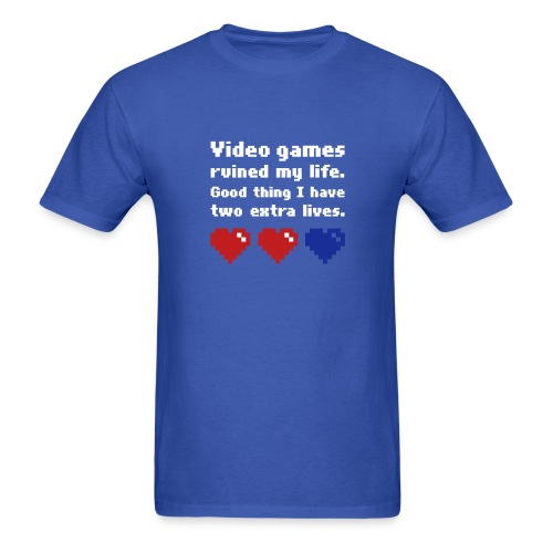 Game Life 1-Logo Blue Mens (flock print) - Men's T-Shirt