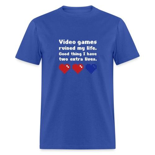 Game Life 1-Logo Blue Mens (flock print) - Men's T-Shirt