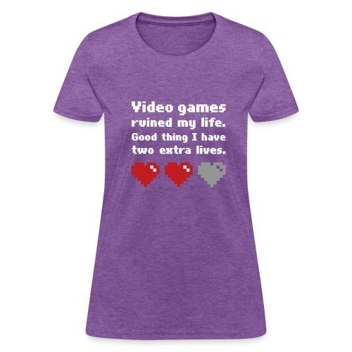 Game Life 1-Logo Grey Womens (flock print) - Women's T-Shirt