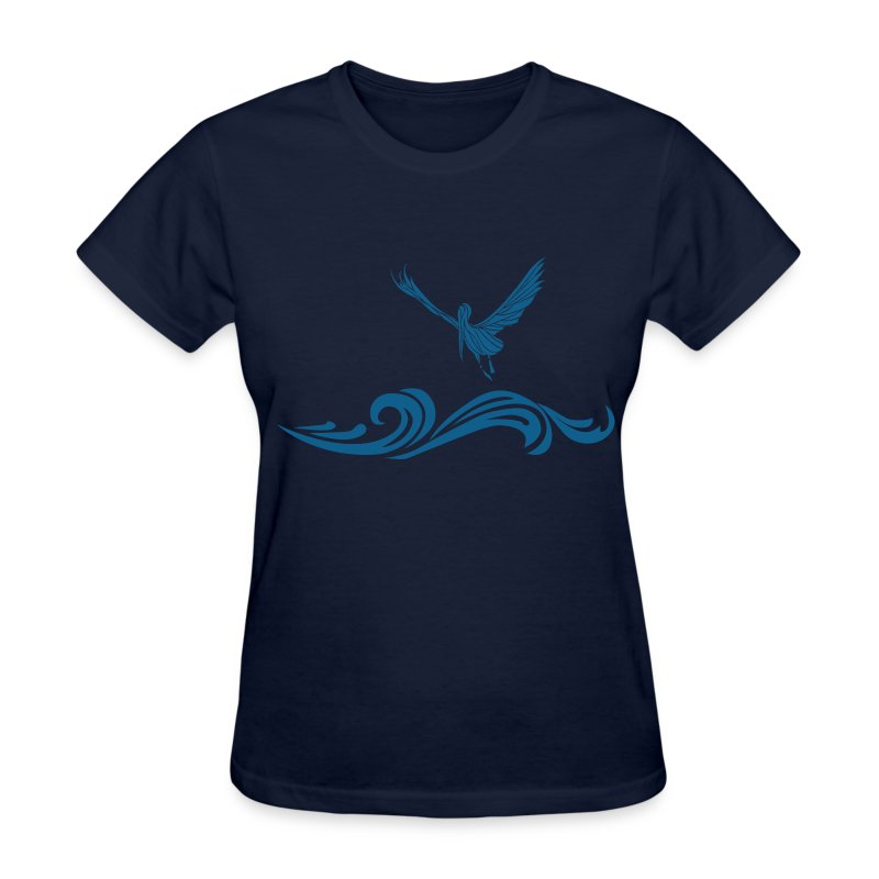 Women's Navy Blue Pelican T-Shirt - Women's T-Shirt