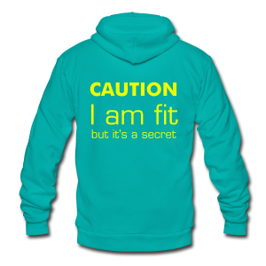 CAUTION I am fit - Unisex Fleece Zip Hoodie by American Apparel