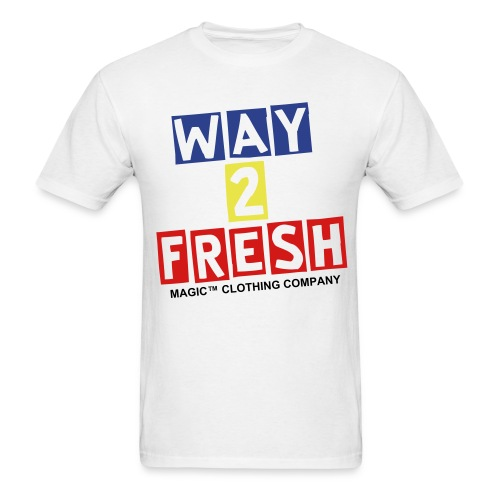 Way 2 Fresh (Royal/Yellow/Red/Black Letters) - Men's T-Shirt
