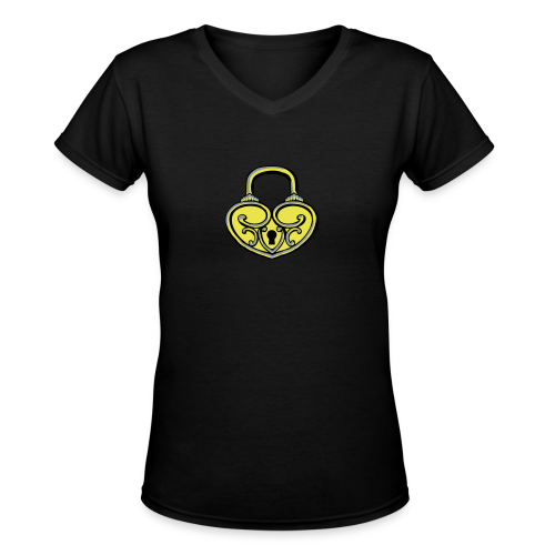 Pop My Lock 3D-Yellow/Silver - Women's V-Neck T-Shirt