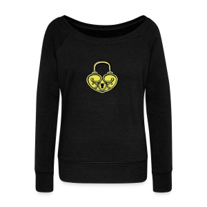 Pop My Lock 3D-Yellow/Silver - Women's Wideneck Sweatshirt