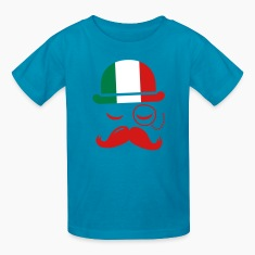 Italian nation fashionable vintage iconic gentleman with flag and Moustache olympics sports italy country Kids' Shirts