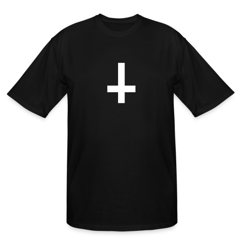 Upside down cross with 666 on back of shirt! - Men's Tall T-Shirt
