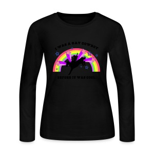 Gay Cowboy Long-Sleeved T-Shirt (Women's) - Women's Long Sleeve Jersey T-Shirt