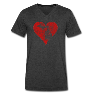 T-Shirts ~ Men's V-Neck T-Shirt by Canvas ~ Mi Distrssed Heart