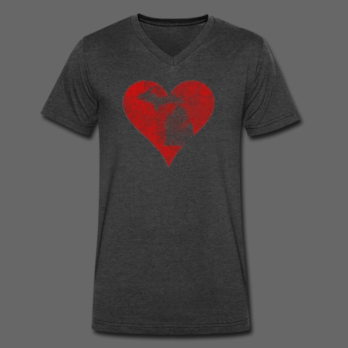 Mi Distrssed Heart  - Men's V-Neck T-Shirt by Canvas