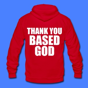 Thank You Based God Zip Hoodies/Jackets - stayflyclothing.com - Unisex Fleece Zip Hoodie by American Apparel