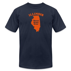 ILLINOIS WORST STATE EVER - Men's T-Shirt by American Apparel