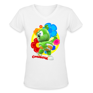 Gummibär (The Gummy Bear) Fun Flowers Ladies V-Neck T-Shirt - Women's V-Neck T-Shirt