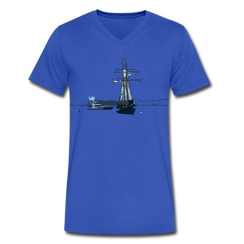 Sailing boat  art Men's V-Neck T-Shirt by Canvas - Men's V-Neck T-Shirt by Canvas