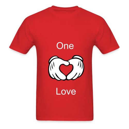 Mens. One Love(Mickey Mouse heart hand) Couple Shirt. - Men's T-Shirt