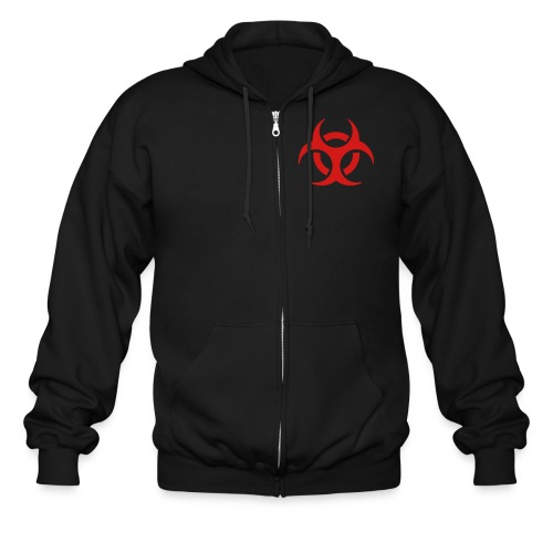 Men's Zip Hoodie - the biohazard logo on the front.Big logo on back with band name and hometown