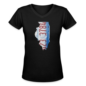 Illinois Plate State - Women's V-Neck T-Shirt