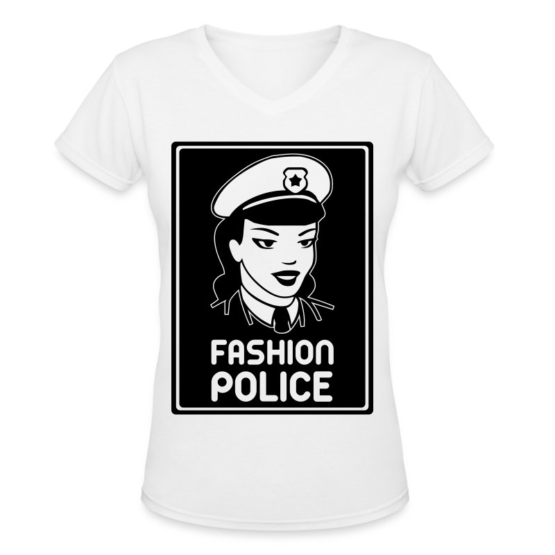 Fashion Police V Neck - White - Women's V-Neck T-Shirt