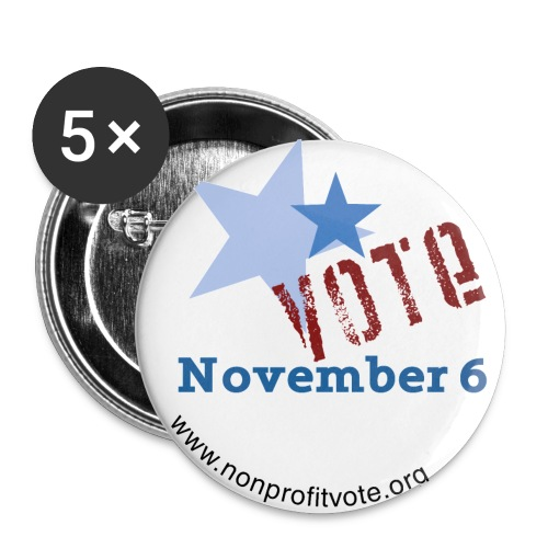 Vote November 6 White Button - 2 Stars - Large Buttons