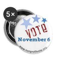 Buttons ~ Large Buttons ~ Vote November 6 White Button - 3 Stars