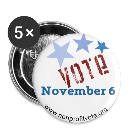 Vote November 6 White Button - 3 Stars - Large Buttons