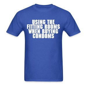 Using The Fitting Rooms When Buying Condoms - Men's T-Shirt