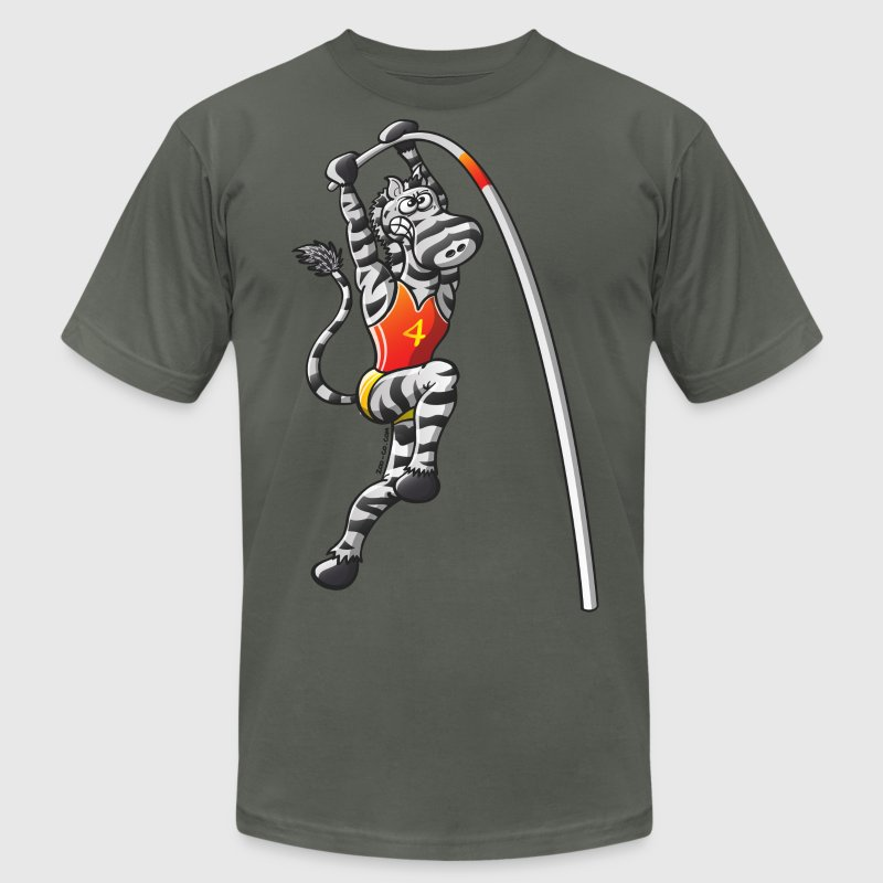 Olympic Pole Vault Zebra T-Shirts - Men's T-Shirt by American Apparel