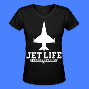 Jet Life To The Next Life Women's T-Shirts - stayflyclothing.com - Women's V-Neck T-Shirt